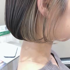 インナーカラー ショートボブ ミニボブ ボブ ヘアスタイルや髪型の写真・画像