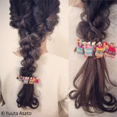 三つ編み ショート ロング くるりんぱ ヘアスタイルや髪型の写真・画像