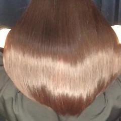 コンサバ 縮毛矯正 パーマ セミロング ヘアスタイルや髪型の写真・画像