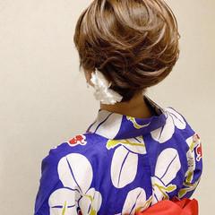 エレガント ボブ 浴衣アレンジ 着物 ヘアスタイルや髪型の写真・画像