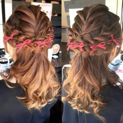 結婚式 ハーフアップ セミロング ヘアアレンジ ヘアスタイルや髪型の写真・画像