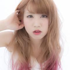 春 ダブルカラー セミロング ピンク ヘアスタイルや髪型の写真・画像