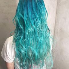 ブルー ミント ストリート セミロング ヘアスタイルや髪型の写真・画像