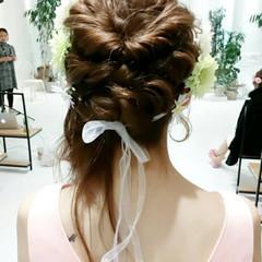 波ウェーブ ヘアアレンジ セミロング ブライダル ヘアスタイルや髪型の写真・画像