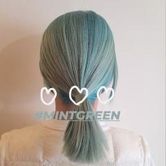 ハイトーンカラー グリーン ミディアム ハイトーン ヘアスタイルや髪型の写真・画像