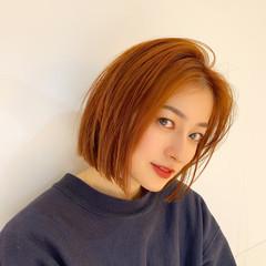 オレンジ アプリコットオレンジ ナチュラル ボブ ヘアスタイルや髪型の写真・画像