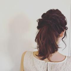 編み込み ナチュラル ヘアアレンジ セミロング ヘアスタイルや髪型の写真・画像