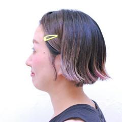 外ハネ ショート おかっぱ グラデーションカラー ヘアスタイルや髪型の写真・画像