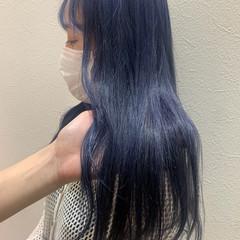 ストリート ブルーラベンダー ロング バイオレットカラー ヘアスタイルや髪型の写真・画像