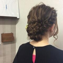 結婚式 セミロング ヘアアレンジ 編み込み ヘアスタイルや髪型の写真・画像