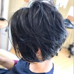 リラックス ショート 黒髪 ジェンダーレス ヘアスタイルや髪型の写真・画像