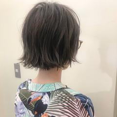 ショート ナチュラル ハイライト ロブ ヘアスタイルや髪型の写真・画像