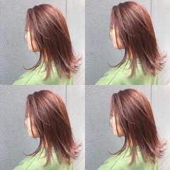 ナチュラル 透明感 ピンク ヘアカラー ヘアスタイルや髪型の写真・画像