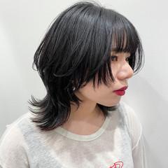 アンニュイ ミディアム モード ボブウルフ ヘアスタイルや髪型の写真・画像