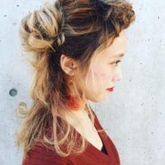 大人女子 ルーズ ハーフアップ ミディアム ヘアスタイルや髪型の写真・画像