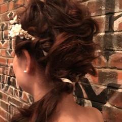 セミロング 女子会 フェミニン ヘアアレンジ ヘアスタイルや髪型の写真・画像