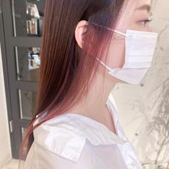 ロング ピンクラベンダー 透明感カラー イヤリングカラー ヘアスタイルや髪型の写真・画像