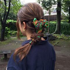 簡単ヘアアレンジ ナチュラル ショート セミロング ヘアスタイルや髪型の写真・画像