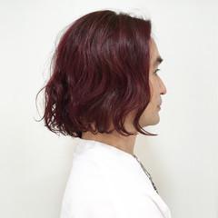 ピンク ボブ レッド ストリート ヘアスタイルや髪型の写真・画像