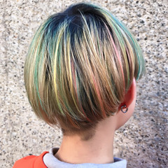 ストリート カラフルカラー ボブ グラデーションカラー ヘアスタイルや髪型の写真・画像