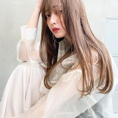 ヘアアレンジ ナチュラル ミルクティーベージュ ロング ヘアスタイルや髪型の写真・画像