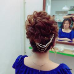 ねじり 結婚式 お団子 ヘアアレンジ ヘアスタイルや髪型の写真・画像