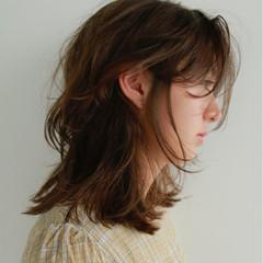 パーマ ミディアム 外国人風 ヘアアレンジ ヘアスタイルや髪型の写真・画像