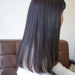 ネイビー ナチュラル ブルーアッシュ 暗髪 ヘアスタイルや髪型の写真・画像