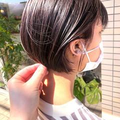 インナーカラー ハイライト ミニボブ ショート ヘアスタイルや髪型の写真・画像