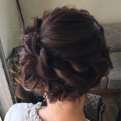 三つ編み ねじり 結婚式 ヘアアレンジ ヘアスタイルや髪型の写真・画像