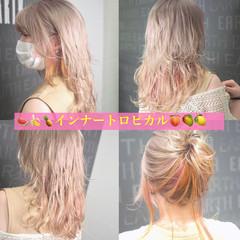インナーカラー ユニコーンカラー ハイライト レインボーカラー ヘアスタイルや髪型の写真・画像