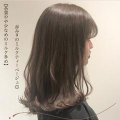 ブリーチなし 透明感カラー デート ミディアム ヘアスタイルや髪型の写真・画像