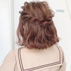 ボブ 簡単ヘアアレンジ ダブルカラー ガーリー ヘアスタイルや髪型の写真・画像