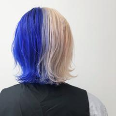 ホワイトカラー メンズ メンズカラー ブルー ヘアスタイルや髪型の写真・画像