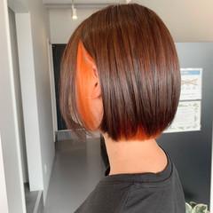 オレンジカラー ストリート ショート インナーカラー ヘアスタイルや髪型の写真・画像