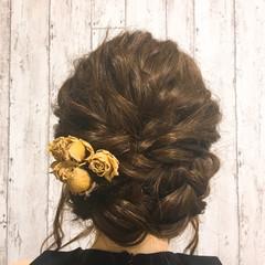 ガーリー デート ミディアム ドライフラワー ヘアスタイルや髪型の写真・画像