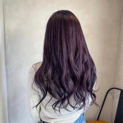 オシャレ ロング セクシー パープル ヘアスタイルや髪型の写真・画像