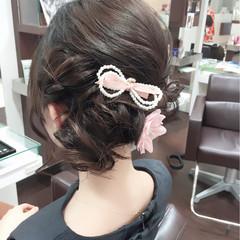 ミディアム フェミニン ヘアアレンジ ゆるふわ ヘアスタイルや髪型の写真・画像