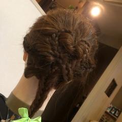 編み込み 簡単ヘアアレンジ ヘアアレンジ フィッシュボーン ヘアスタイルや髪型の写真・画像