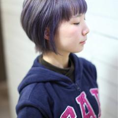 ショート ガーリー ピンク モーブ ヘアスタイルや髪型の写真・画像