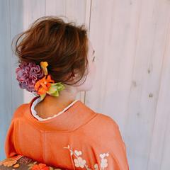 結婚式髪型 ヘアアレンジ フェミニン ミディアム ヘアスタイルや髪型の写真・画像