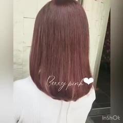 ピンク セミロング ピンクブラウン ピンクベージュ ヘアスタイルや髪型の写真・画像
