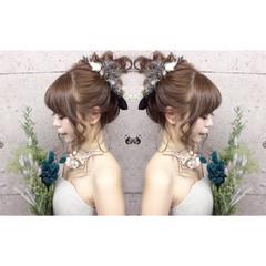 ブライダル ヘアアレンジ 三つ編み ロング ヘアスタイルや髪型の写真・画像