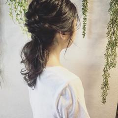 ヘアアレンジ セミロング くるりんぱ 簡単ヘアアレンジ ヘアスタイルや髪型の写真・画像