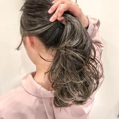バレイヤージュ ナチュラル グラデーションカラー ミディアム ヘアスタイルや髪型の写真・画像