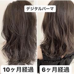 セミロング イルミナカラー 透明感カラー 外国人風カラー ヘアスタイルや髪型の写真・画像