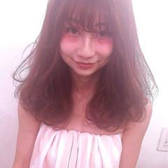 ミディアム モテ髪 簡単 ピンク ヘアスタイルや髪型の写真・画像
