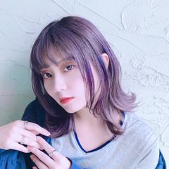 モテ髪 ガーリー ミディアム ハイトーンカラー ヘアスタイルや髪型の写真・画像
