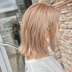 ミディアム ミルクティーグレージュ ガーリー ミルクティーベージュ ヘアスタイルや髪型の写真・画像