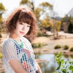 ミディアム ボブ ヘアアレンジ カール ヘアスタイルや髪型の写真・画像